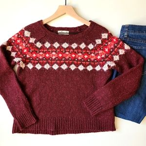 Hollister fair isle wool blend red sweater